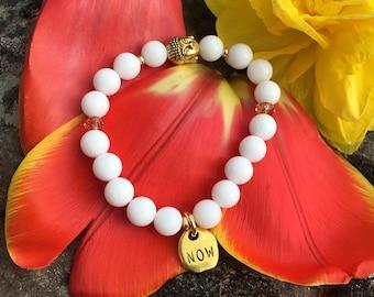 White Onyx NOW Bracelet   Healing Mala Beads   Natural High Grade Gemstones   Yoga Jewelry   Gold Buddha   Strength   Live in the Present