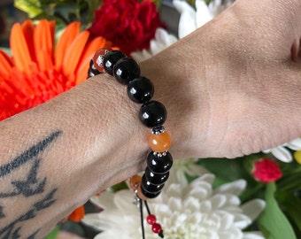 Sunset Lotus Dreams Mala Bracelet | Black Obsidian | Red Carnelian | Red Garnet | Orange Aventurine | Mala Beads | Protection | Eases Grief