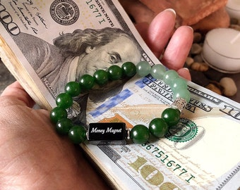 Money Magnet Mala Bracelet | Luxury Reiki Infused Healing Mala Beads | Jade | Adventurine | Onyx | Law of Attraction | Enhances Abundance