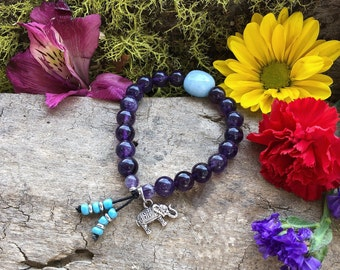 Ganesha Clarity Mala Bracelet | AAA Purple Amethyst Mala Beads | Blue Aquamarine | Luxury Natural Gemstones | Reiki Infused | Focus | Peace