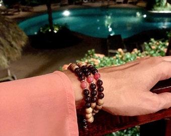 Pura Vida Triple Wrap Mala Bracelet | Natural Sandalwood | Rhodochrosite | Brazilian Garnet | Luxury Mala Beads | Love | Enthusiasm | Energy