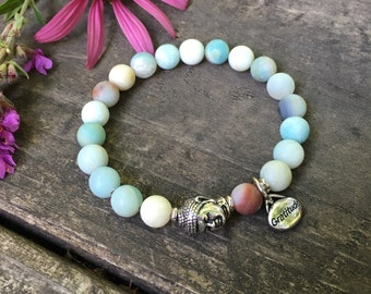 Abundance Gratitude Mala Bracelet | Frosted Multi Amazonite | Luxury Gemstone Healing Mala Beads | Reiki Infused | Communication | Abundance
