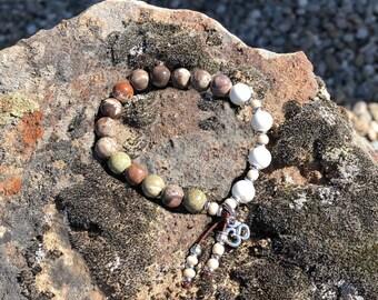 Prasada Mala Bracelet   Rainforest Agate   Magnesite   Mala Beads   Yoga    High Vibrational Healing   Harmony   Balance   Acceptance