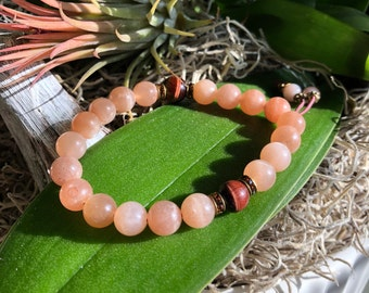 Kissed By The Sun Mala Bracelet | Sunstone | Red Tigers Eye | Garnet | AAA Luxury Gemstones | Optimism | Enthusiasm | Releases Energy Hooks