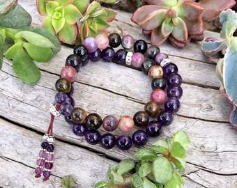 Powerhouse Double Wrap Mala Bracelet | Rainbow Tourmaline | Amethyst | Flourite | Luxury Gemstone Beads | Energy | Stress Relief | Clarity