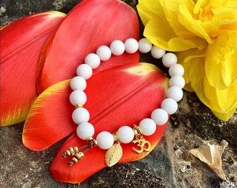 Positive Change Mala Bracelet   White Onyx Gemstones   Mala Beads   Om   Leaf   Reiki Infused   Confidence   Moving Forward   Transition