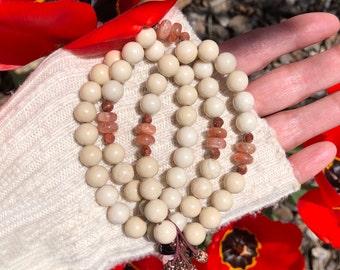 Morning Meditation Set   Mala Bracelets   Ivory Jasper   Peach Sunstone   Luxury Gemstone Mala Beads   Peace   Lightness   Optimism