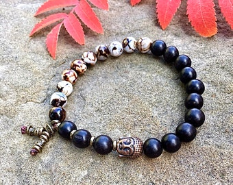 Men's Tashi Mala Bracelet | Matte Black Onyx Gemstones | Wood Grain Agate | Luxury Mala Beads | Health | Prosperity | Protection | Abundance