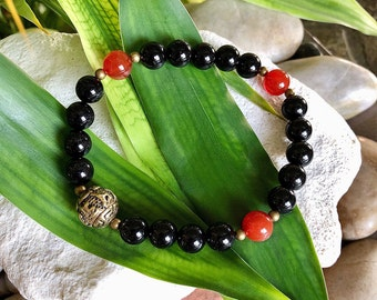 Men's Presence Mala Bracelet | AAA Gemstone Mala Beads | Black Onyx | Carnelian | Mani Mantra | Conscious Living | Enjoy the Present Moment