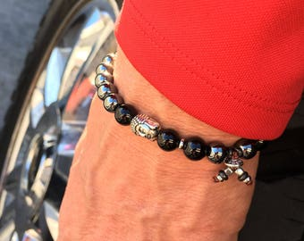 Men's Safe & Secure Mala Bracelet | Hematite | Black Onyx | Buddha | Mala Beads | Pain Relief | Strength | Security | Protection | Grounding