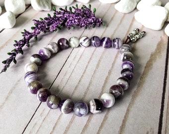 Serendipity Mala Bracelet | Chevron Amethyst | Reiki Infused Healing Mala Beads | Stimulates Third Eye Chakra | Spiritual Awareness | Focus