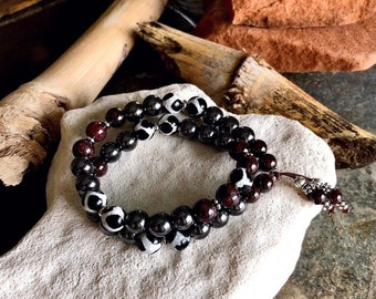 Deep Breath Double Mala Bracelet | Hematite | Brazilian Red Garnet |  Dzi Agate | Luxury Mala Beads | Pain Relief | Restores Energy