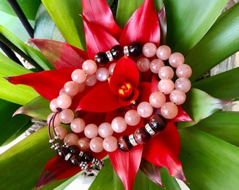 Sunshine & Smiles Double Mala Bracelet | AAA Sunstone | AAA Red Tigers Eye | AAA Garnet | Antidepressant | Optimism | Enthusiasm | Energy