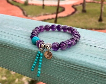 Mystic Mala Bracelet | Luxury Purple Amethyst | Natural Turquoise | Reiki Mala Beads | Clarity | Awareness | Enhances Psychic Abilities