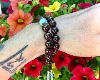 Kama Desire Double Mala Bracelet | Beautiful Garnet & Amazonite Gemstones | Healing Mala Beads | Passion | Kundalini | Stimulates Metabolism