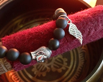 Men's Guardian Mala Bracelet   Healing Mala Beads   Frosted Black Onyx   Grey Crazy Lace Agate   Natural Gemstones   Strength   Protection