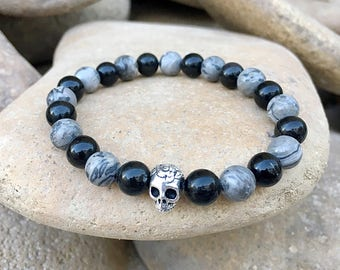 Mens Game Changer Mala Bracelet | Reiki Infused Mala Beads | Grey Crazy Lace Agate | Obsidian | Sugar Skull | Strength | Positivity