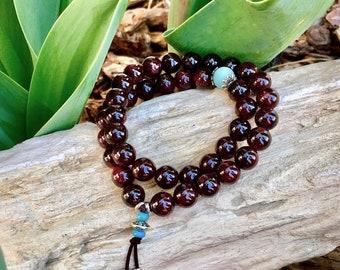 Kama Desire Double Mala Bracelet | Luxury Garnet & Amazonite Gemstones | Healing Mala Beads | Passion | Kundalini | Stimulates Metabolism