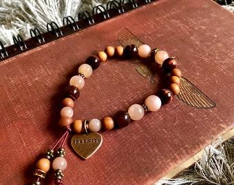 Serenity Soul Mala Bracelet | AAA Peach Sunstone | AAA Red Tigers Eye | Natural Sandalwood | Swarovski Crystals | Vitality | Hope | Optimism