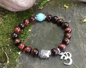 Nirvana Om Mala Bracelet | Red Tigers Eye | AAA Amazonite | Luxury Healing Mala Beads | Love | Motivation | Vitality | Passion for Life