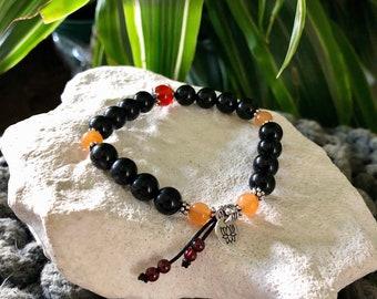 Sunset Lotus Dreams Mala Bracelet   Black Obsidian   Red Carnelian   Red Garnet   Orange Aventurine   Mala Beads   Protection   Eases Grief