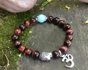 Nirvana Om Mala Bracelet | Red Tigers Eye | AAA Amazonite | Luxury Healing Mala Beads | Love | Motivation | Vitality | Passion for Life