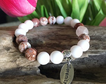 Serenity Mala Bracelet | Rose Quartz | White Onyx | Brazilian Crazy Lace Agate Mala Beads  | Reiki | Tranquility | Self Love | Composure