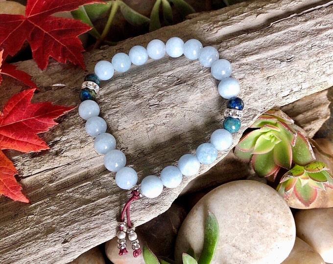 Featured listing image: High Consciousness Mala Bracelet   Natural Aquamarine   Azurite   Luxury Gemstone Mala Beads   Raises the Vibration   Spiritual Intuition