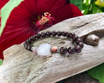 Happy in Love Mala Bracelet | AAA Brazilian Red Garnet | AAA Rose Quartz | AAA Crazy Lace Agate | Luxury Mala Beads | Warm Yummy Happy Love