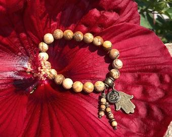 Warm Hug Mala Bracelet | Picture Jasper | Reiki Infused | Gemstone Mala Beads | Bohemian | Hamsa Hand | Om | Comfort | Support | Stability