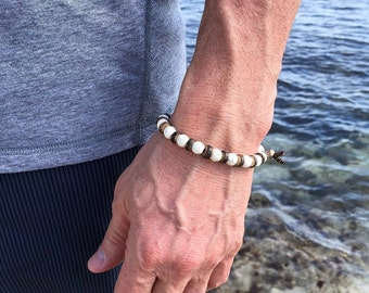 Men's Calm Mala Bracelet | White Howlite Gemstones | Coconut Shell | Reiki Infused | Healing Mala Beads | Controls Anger | Reduces Anxiety