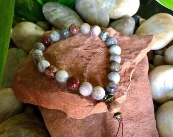 Warm Glow Mala Bracelet | Luxury Laguna Lace Agate Gemstones | Reiki Infused Mala Beads | Heart Healing | Self Acceptance | Inner Peace
