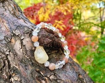 NEW! Core Confidence Mala Bracelet | Yellow Citrine | Peach Sunstone | Clear Crackle Quartz | Healing Mala Beads | Optimism | Personal Power