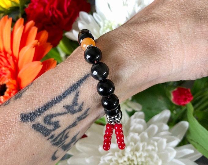 Featured listing image: Sunset Dreams Mala Bracelet | Black Obsidian | Red Carnelian | Red Coral | Orange Adventurine | Reiki Mala Beads | Inspiration | Protection