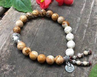 Soothing Mala Bracelet | Luxury Mala Beads | Picture Jasper | Howlite | Lotus | Yoga Bracelet | Reiki | Comfort |  Reduces Self Criticism