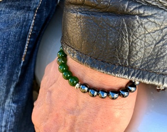Men's Fortune Mala Bracelet | Green Jade | Hematite | Reiki Infused Mala Beads | Energizing | Enhances Abundance | Dissolves Doubt