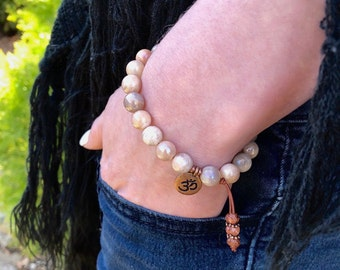Divine Moon Mala Bracelet   Peach Moonstone   Picture Jasper   Reiki Infused Mala Beads   Feminine Intuition   Soothes Emotional Triggers