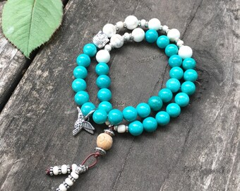 Shraddha Double Wrap Mala Bracelet | Turquoise | Magnesite | Yoga Mala Beads | Brings Love | Eases Depression Anxiety & Exhaustion |