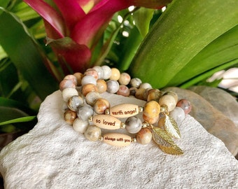 Always With You Mala Bracelets | Your Choice of Focal Bead: Always With You, So Loved, Earth Angel or All Three | Crazy Lace Agate Gemstones