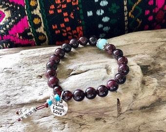 Kama Mala Bracelet   Brazilian Red Garnet   Amazonite   AAA Gemstones   Reiki Mala Beads   Yoga   Live Love Laugh   Magic   Passion   Energy