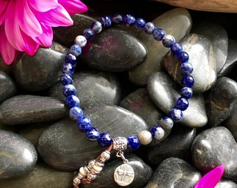 Lucid Mala Bracelet | AAA Sodalite | Natural Healing Mala Beads | Reiki Infused | Spiritual | Communication | Mental Clarity | Creativity
