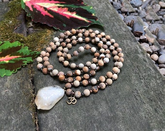 Cozy Comfort Om Mala Necklace | Matte Picture Jasper | Citrine Pendant | Reiki Infused | Bohemian Mala Beads | Grounding | Ease | Flow