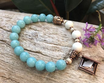 Dharma Turn the Page Mala Bracelet | Yoga Wrist Mala | Mala Beads | Amazonite | Magnesite | Affirmation | Reiki Healing | Self Love | Luck