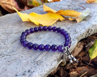 Anxiety Support Mala Bracelet | AAA Luxury Amethyst Gemstones | Reiki Infused Mala Beads | Clarity | Focus | Protection | Anxiety Relief