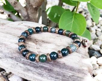Men's Abundant Nature Mala Bracelet | Green Moss Agate | Mala Beads | Eases Depression | Soothes Fear | Uplifting | Optimism | Abundance