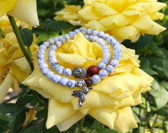 White Light Mala Bracelet | Healing Mala Beads | White-Grey Howlite | Amethyst | Red Jasper | Stabilizes Emotions | Inner Calm | Peace