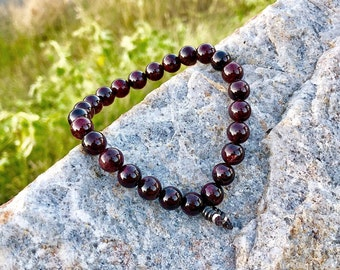 Men's Love & Success Bracelet | Men's Mala Beads | AAA Luxury Garnet Gemstones | Passion | Motivation | Business Success | Speeds Metabolism