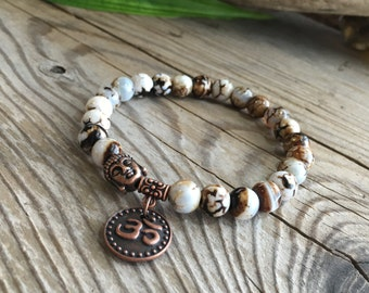 Tashi Om Mala Bracelet | Unique Luxury Mala Beads | Tibetan Dzi Agate | Yoga | Meditation | Reiki Infused | Abundance | Health | Prosperity