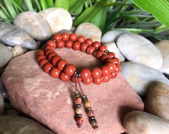 Sweet Relief Double Mala Bracelet | AAA Red Jasper | AAA Picasso Jasper | Mala Beads | Grounding | Strength | Resolves Stressful Situations