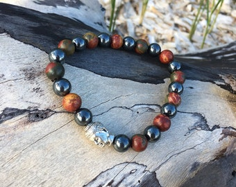 Mens Grounding Mala Bracelet | Silver Buddha | Healing Mala Beads | Reiki Infused | Picasso Jasper | Hematite | Eases Anxiety | Pain Relief